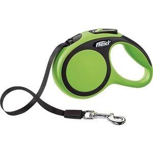 Рулетка Flexi New Comfort XS лента 3м зеленая для собак до 12кг рулетка flexi new comfort xs трос 3м черный розовый для собак до 8кг