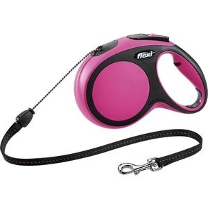 Рулетка Flexi New Comfort S трос 8м розовая для собак до 12кг