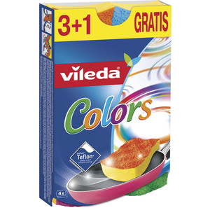 Губка VILEDA Pure Colors (Пур Колорс) для посуды 3+1 шт