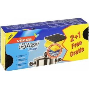 Губка VILEDA Glitzi Pius (Глитци плюс) для кастрюль, двухсторонняя 2+1 шт губка vileda для стеклокерамики 2 шт