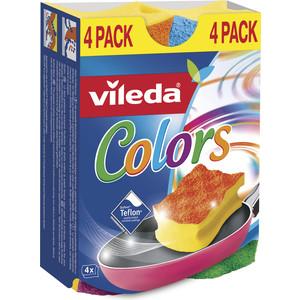 Губка VILEDA Pure Colors (Пур Колорс) для посуды высокий поролон 4 шт
