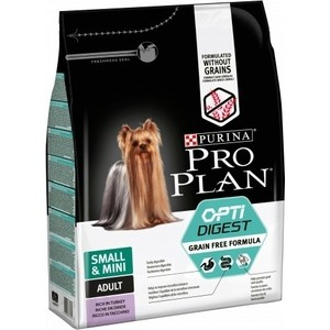Сухой корм PRO PLAN OPTIDIGEST Grain Free Small & Mini беззерновой с индейкой для собак мелких пород чувствительным пищеварением 2,5кг (12384758)