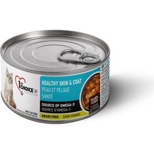 Консервы 1-ST CHOICE Adult Cat Healthy Skin & Coat Grain Free Salmon Flakes с лососем здоровая кожа и шерсть для кошек 85г (102.6.024)