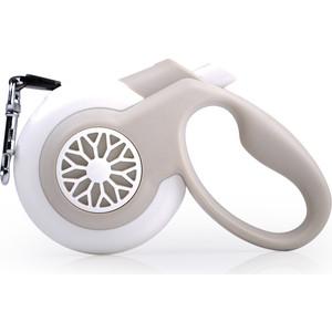 Рулетка Fida Smart Walk S лента 5м бело-серая для собак до 15кг (с системой автоматического торможения)