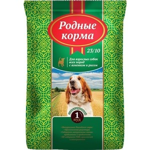 Сухой корм Родные Корма с ягненком и рисом гипоаллергенный 23/10 для взрослых собак всех пород 1 пуд 16,38кг