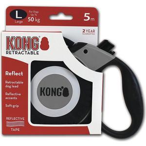 Рулетка KONG Reflect L лента 5м серая для собак до 50кг