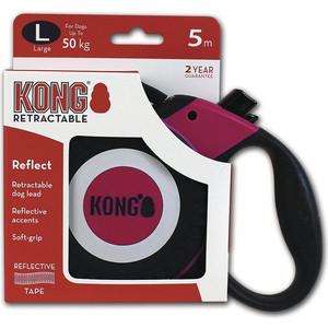 Рулетка KONG Reflect L лента 5м фуксия для собак до 50кг