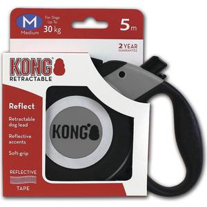 Рулетка KONG Reflect M лента 5м серая для собак до 30кг