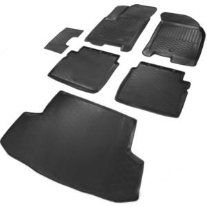 цена на Комплект ковриков салона и багажника Rival для Chevrolet Aveo I седан (2004-2011) / Ravon Nexia R3 седан (2015-н.в.), полиуретан, K11001004-5