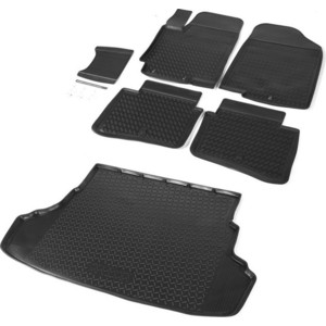 Комплект ковриков салона и багажника Rival для Hyundai Solaris I седан (2010-2017), полиуретан, без крепежа, K12305001-6