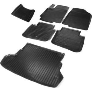Комплект ковриков салона и багажника Rival для Kia Rio III седан (2011-2017), полиуретан, без крепежа, K12803001-3