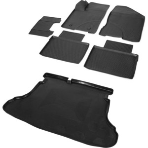 Комплект ковриков салона и багажника Rival для Lada Vesta седан, седан Cross (2015-н.в.), полиуретан, K16006001-2