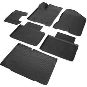 Комплект ковриков салона и багажника Rival для Lada Vesta универсал, универсал Cross (багажник без фальш пола) (2017-н.в.), полиуретан, K16006004-1