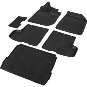 Комплект ковриков салона и багажника Rival для Lada Xray хэтчбек, хэтчбек Cross (c полкой в багажнике, без вещевого ящика в салоне) (2016-н.в.), полиуретан, K16007003-4