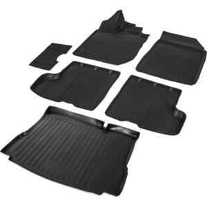 Комплект ковриков салона и багажника Rival для Lada Xray HB, HB Cross (без полки и пластик.накладки в проеме баг-ка, без вещ.ящика в салоне) (2016-н.в.), K16007002-4