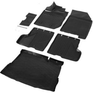 цена Комплект ковриков салона и багажника Rival для Lada Xray HB, HB Cross (без полки и с пластик.накладкой в проеме багажника, с вещ.ящиком в салоне) (2016-н.в.), K16007005-1 онлайн в 2017 году