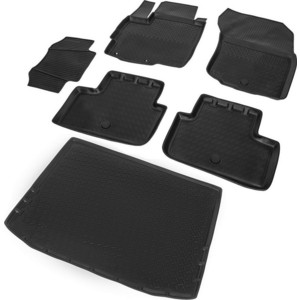 Комплект ковриков салона и багажника Rival для Mitsubishi ASX I рестайлинг 5-дв. (2012-2016 / 2016-н.в.), полиуретан, без крепежа, K14001002-1