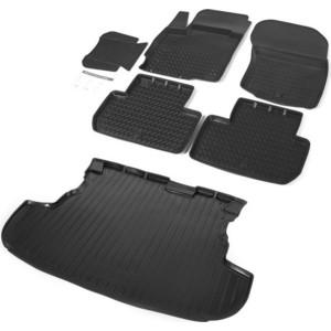 Комплект ковриков салона и багажника Rival для Mitsubishi Outlander III 5-дв. (багажник без органайзера) (2012-2018 / 2018-н.в.), полиуретан, без крепежа, K14002002-4