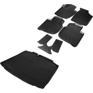 Комплект ковриков салона и багажника Rival для Skoda Rapid I, II лифтбек (2012-2020 / 2020-)/Volkswagen Polo VI (2020-), полиуретан, с крепежом, 6 шт., K15102001-2
