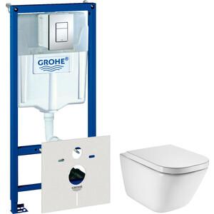 Комплект унитаза Roca Gap с инсталляцией Grohe, кнопкой, сиденьем микролифт (34647L000, 38775001, 801472004)