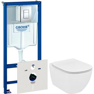 Комплект унитаза Ideal Standard Tesi с инсталляцией Grohe, кнопкой, сиденьем микролифт (T007901, 38775001, T352701)