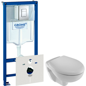 Комплект унитаза Jacob Delafon Mideo с инсталляцией Grohe, кнопкой, сиденьем микролифт (E4345G-00, 38775001, 4393K-00)