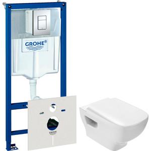 цены на Комплект унитаза Jacob Delafon Struktura с инсталляцией Grohe, кнопкой, сиденьем микролифт (EDF102-00, 38775001, E70025-00)  в интернет-магазинах