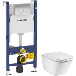 Комплект унитаза Roca Gap с инсталляцией Geberit, кнопкой, сиденьем микролифт (34647L000, 458.124.21.1, 801472004)