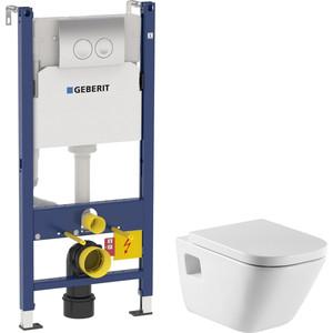 Комплект унитаза Roca Gap с инсталляцией Geberit, кнопкой, сиденьем микролифт (346477000, 458.124.21.1, 801472004)