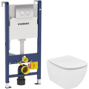 Комплект унитаза Ideal Standard Tesi с инсталляцией Geberit, кнопкой, сиденьем микролифт (T007901, 458.124.21.1, T352701)