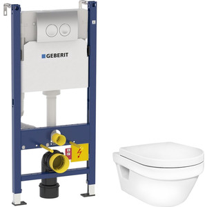 Комплект унитаза Gustavsberg Hygienic Flush с инсталляцией Geberit, кнопкой, сиденьем микролифт (5G84HR01, 458.124.21.1)