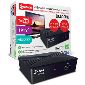 Тюнер DVB-T2 D-Color DC600HD цена