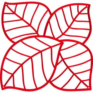 Набор из 4 декоративных элементов красный Koziol Leaf (2043536)