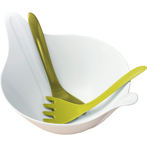 Салатница с приборами 4 л бело-зелёная Koziol Leaf 2.0 (3693474)
