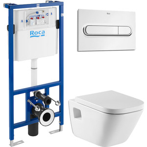 Комплект унитаза Roca Gap с инсталляцией, кнопкой, сиденьем микролифт (346477000, 890090020, 801472004, 890095001)
