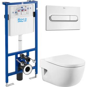 Комплект унитаза Roca Meridian с инсталляцией, кнопкой, сиденьем микролифт (346247000, 890090020, 8012A2004, 890095001)