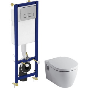 Комплект унитаза Ideal Standard Connect с инсталляцией, кнопкой, сиденьем микролифт (E803501, W3710AA, E712701)