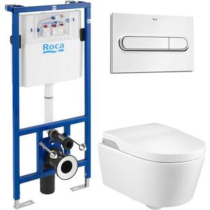 Комплект унитаза Roca Inspira с инсталляцией, кнопкой, сиденьем микролифт (803060001, 890090020, 890095001)