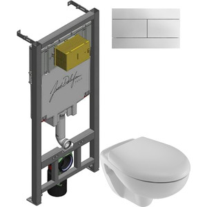 Комплект унитаза Jacob Delafon Mideo с инсталляцией, кнопкой, сиденьем микролифт (E4345G-00, E29025-NF, 4393K-00, E4316-CP)