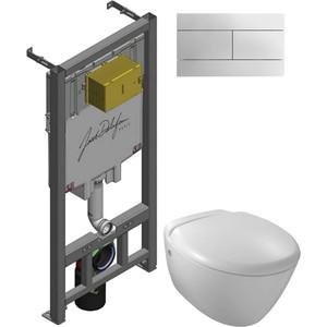Комплект унитаза Jacob Delafon Jacob Delafon Presquile с инсталляцией, кнопкой, сиденьем микролифт (E4440-00, E29025-NF, E4316-CP) фото