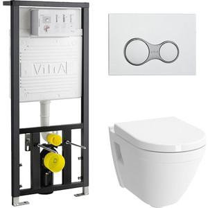 Комплект унитаза Vitra S50 с инсталляцией, кнопкой, сиденьем микролифт (7740B003-0075, 700-1873, 72-003-309)