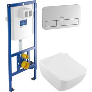 Комплект унитаза Villeroy Boch Venticello с инсталляцией, кнопкой, сиденьем микролифт (4611RL01, 9224 6100, 9069)