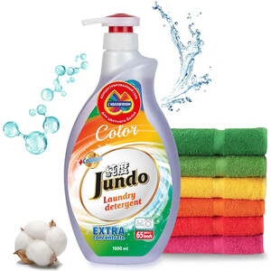 Гель для стирки Jundo Color концентрированный, для цветного белья 1 л, 65 стирок гель для стирки oro 1391400 007184 для цветного белья