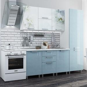 Кухня БТС Бьянка голубые блестки 2,1 м