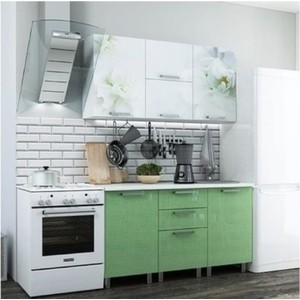 Кухня БТС Бьянка салатовые блестки 1,5 м кухня бтс орхидея 1 6 м