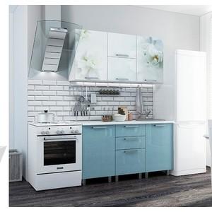 Кухня БТС Бьянка голубые блестки 1,5 м