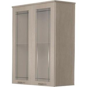 Шкаф Dreja Antia 60 2 дверки со стеклом, капучино (99.0419) трия шкаф верхний со стеклом синга крем в 60 60 1дос