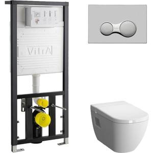 Комплект Vitra D-Light Rimless с инсталляцией, безободковый, с микролифтом (5911B003-1086, 700-1873, 104-003-009)