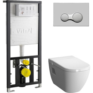 Комплект Vitra D-Light с инсталляцией, с емкостью для дезинфекции, с микролифтом (5910B003-1086, 700-1873, 104-003-009) сидение vitra d light микролифт 104 003 009