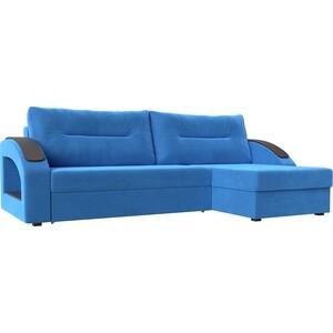 Угловой диван Лига Диванов Канзас велюр синий правый угол угловой диван лига диванов оливер велюр синий правый угол